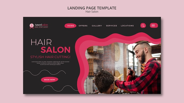 Modelo de página de destino para salão de cabeleireiro