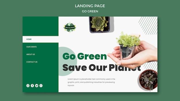 Modelo de página de destino para se tornar ecológico e ecológico