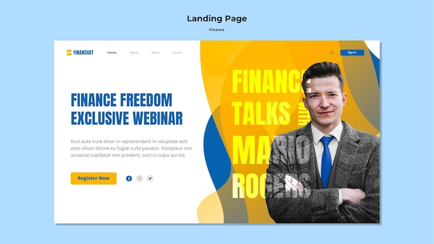 Modelo de página de destino para seminário de negócios e finanças