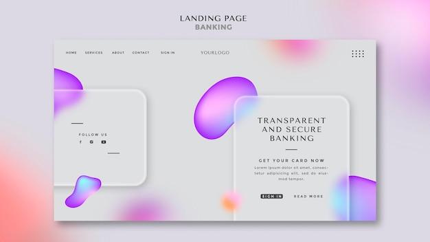 Modelo de página de destino para serviços bancários transparentes e seguros