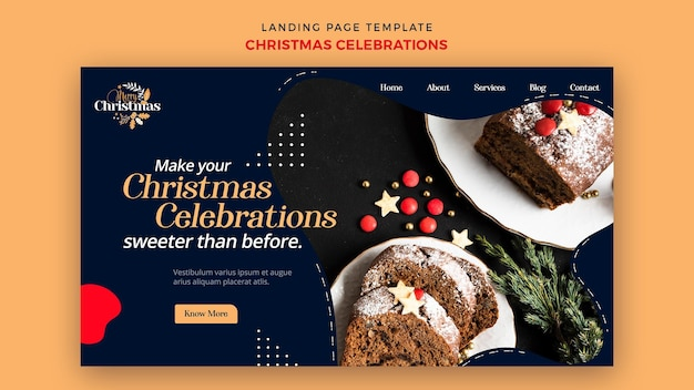 Modelo de página de destino para sobremesas tradicionais de natal