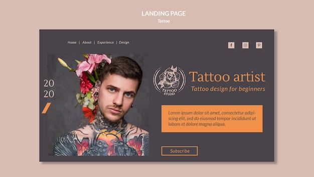 Modelo de página de destino para tatuador