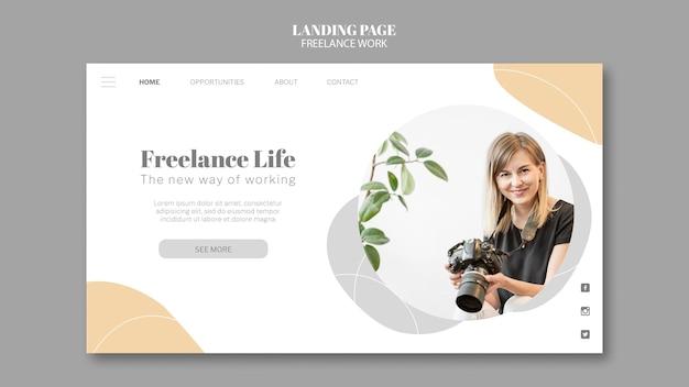 Modelo de página de destino para trabalho freelance com fotógrafa
