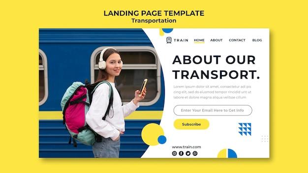 Modelo de página de destino para transporte público de trem com mulher