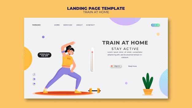 Modelo de página de destino para treinamento físico em casa