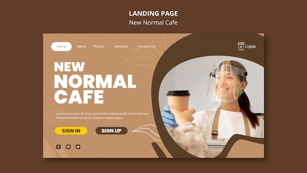 Modelo de página de destino para um novo café normal