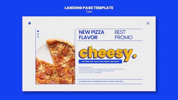 Modelo de página de destino para um novo sabor de pizza de queijo