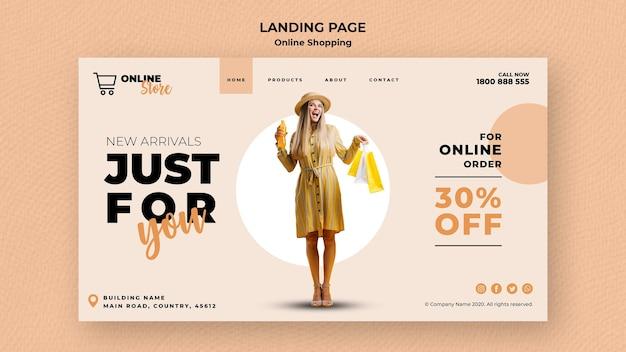 Modelo de página de destino para venda de moda on-line