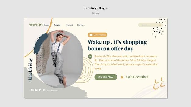 Modelo de página de destino para vendas de moda
