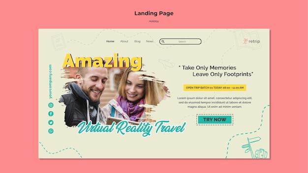 Modelo de página de destino para viagem de férias de realidade virtual