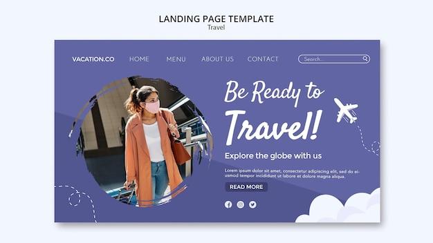 Modelo de página de destino para viagens com mulher usando máscara facial