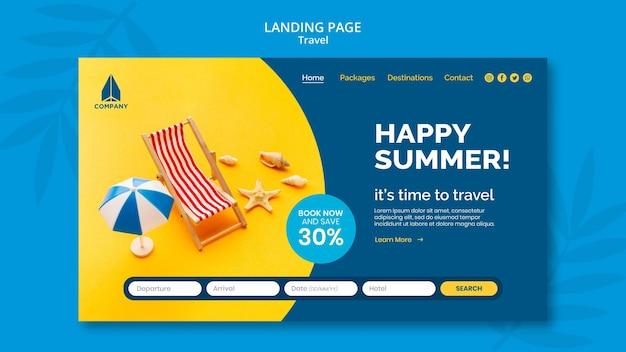 Modelo de página de destino para viagens de férias