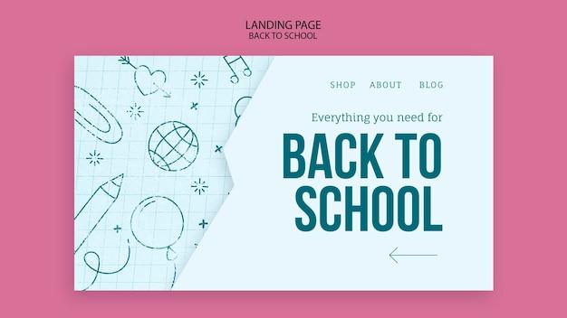 Modelo de página de destino para voltar às aulas