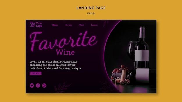 Modelo de página de destino promocional de vinho