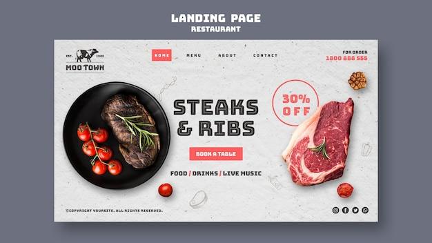 Modelo de página de destino restaurante especializado em carne