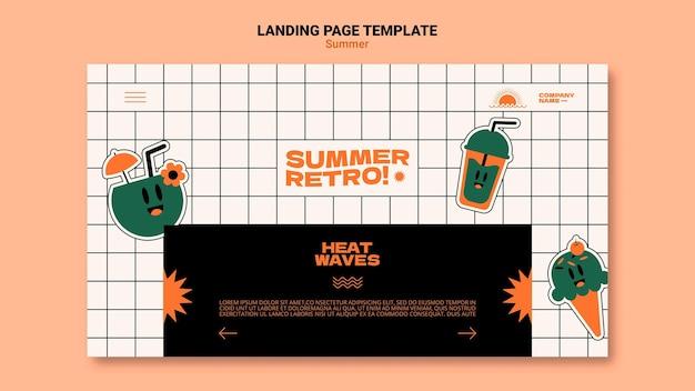 Modelo de página de destino retrô de verão