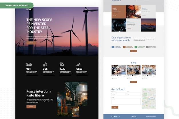Modelo de página de site da indústria siderúrgica