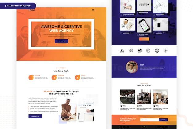 Modelo de página de site de agência da web criativa