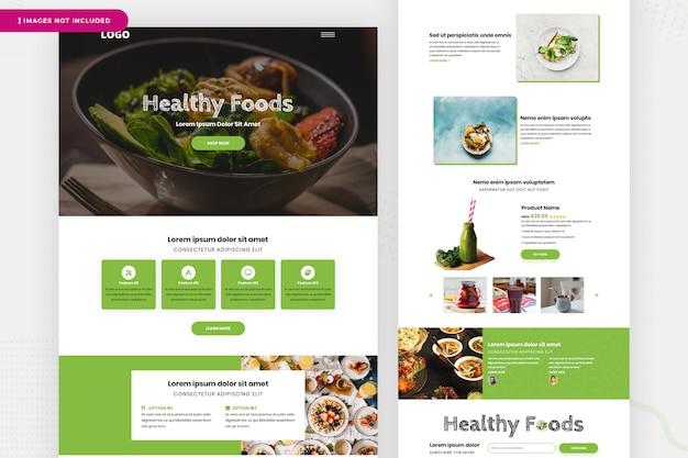 Modelo de página de site de alimentos saudáveis