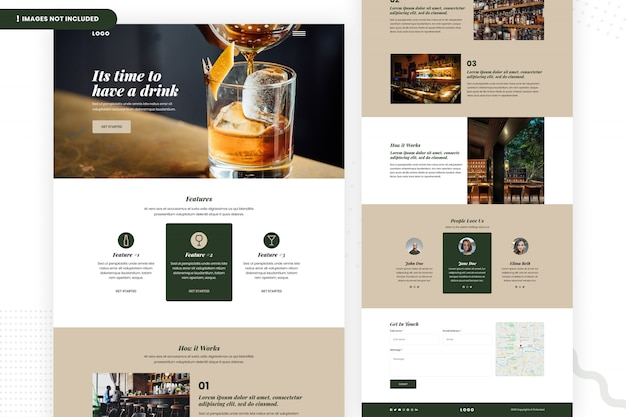 Modelo de página de site de barra