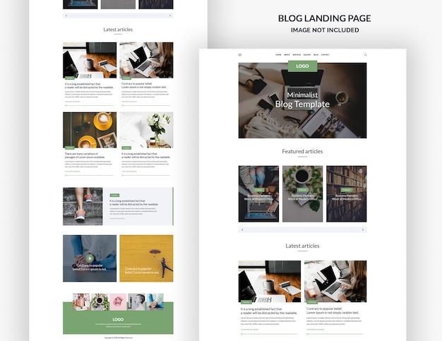 Modelo de página de site de blog