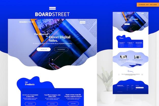 Modelo de página de site de boardstreet