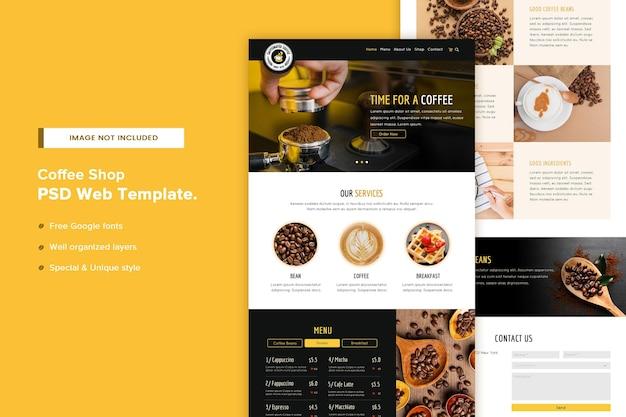 Modelo de página de site de cafeteria