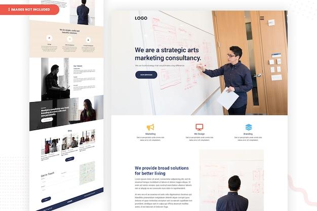 Modelo de página de site de consultoria de marketing