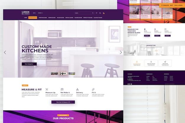 Modelo de página de site de cozinhas personalizadas