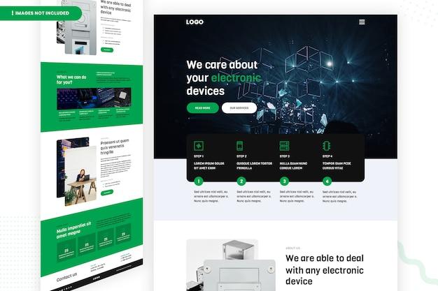 Modelo de página de site de dispositivos eletrônicos