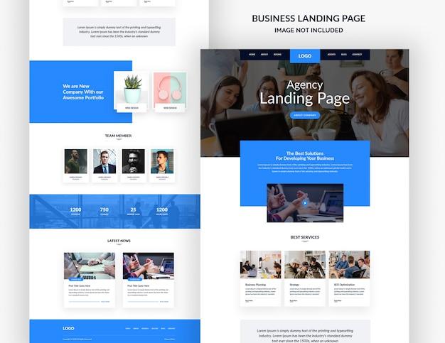 Modelo de página de site de empresa de design