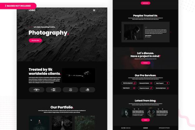 Modelo de página de site de fotografia