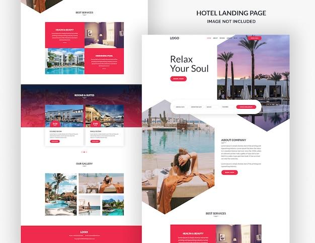 Modelo de página de site de hotel e resort