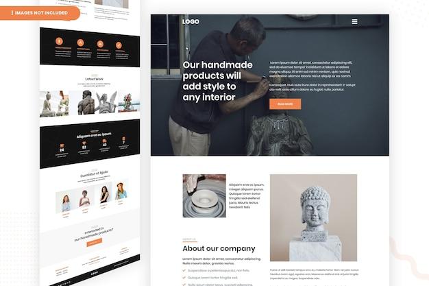 Modelo de página de site de interior de produtos feitos à mão