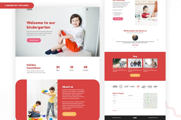 Modelo de página de site de jardim de infância