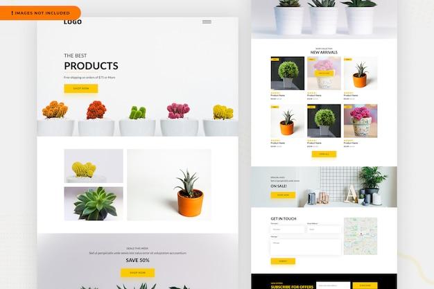 Modelo de página de site de produtos