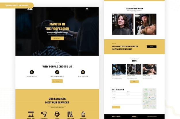 Modelo de página de site de salão de beleza