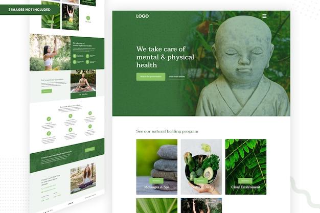 Modelo de página de site de saúde mental e física