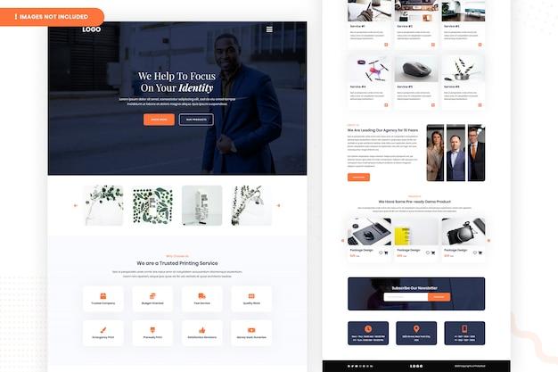 Modelo de página de site de serviço de impressão