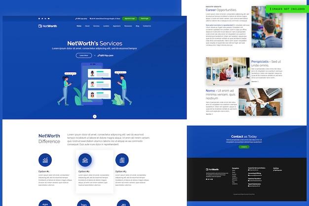 Modelo de página de site de serviços da net worth