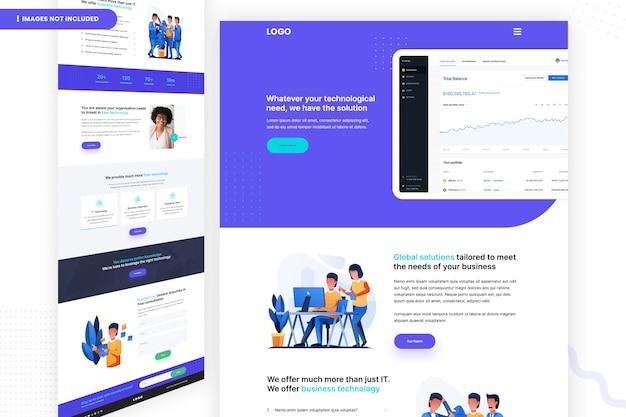 Modelo de página de site de solução de tecnologia