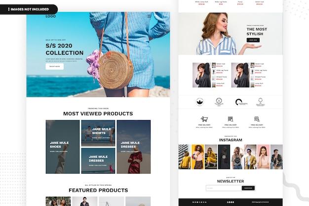 Modelo de página de site de venda de moda on-line