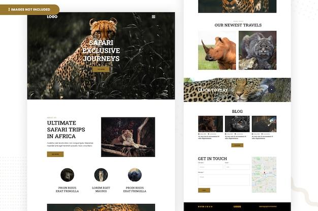 Modelo de página de site de viagens de safari na áfrica