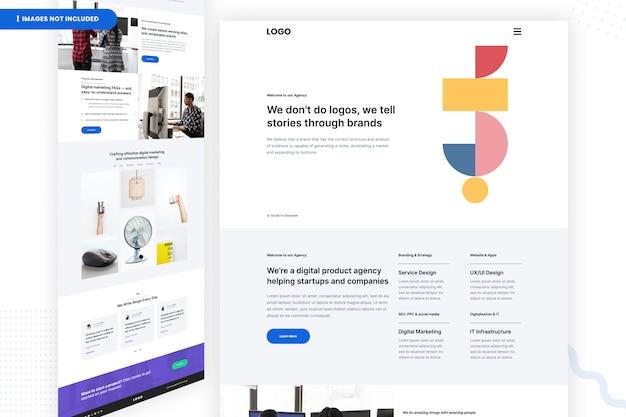 Modelo de página do site da agência de produto digital