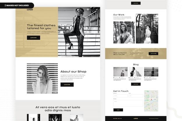 Modelo de página do site de panos mais finos