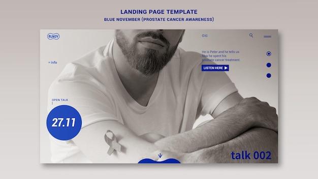 Modelo de página inicial azul de novembro