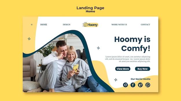 Modelo de página inicial confortável