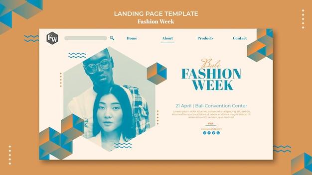 Modelo de página inicial da semana da moda