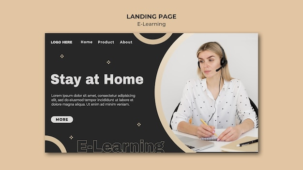 Modelo de página inicial de aprendizagem online