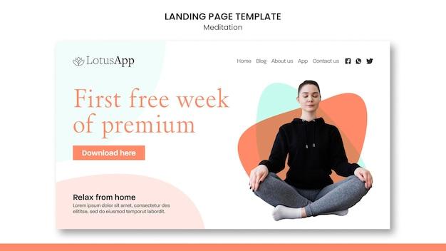 Modelo de página inicial de estilo de vida de meditação